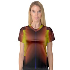 Abstract Painting Women s V Neck Sport Mesh Tee