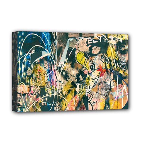 Art Graffiti Abstract Lines Deluxe Canvas 18  X 12   by Nexatart