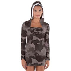 Background For Scrapbooking Or Other Camouflage Patterns Beige And Brown Women s Long Sleeve Hooded T Shirt