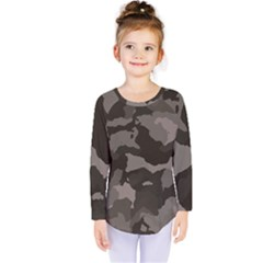 Background For Scrapbooking Or Other Camouflage Patterns Beige And Brown Kids  Long Sleeve Tee