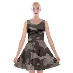 Background For Scrapbooking Or Other Camouflage Patterns Beige And Brown Velvet Skater Dress