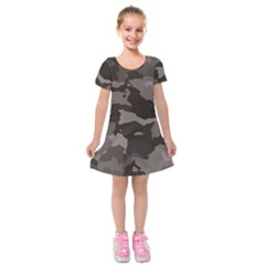 Background For Scrapbooking Or Other Camouflage Patterns Beige And Brown Kids  Short Sleeve Velvet Dress