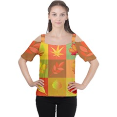 Autumn Leaves Colorful Fall Foliage Women s Cutout Shoulder Tee by Nexatart