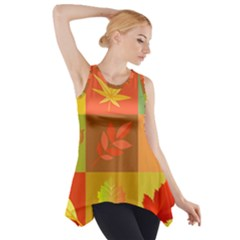 Autumn Leaves Colorful Fall Foliage Side Drop Tank Tunic by Nexatart