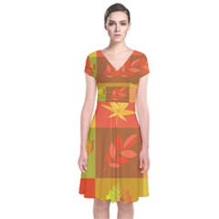 Autumn Leaves Colorful Fall Foliage Short Sleeve Front Wrap Dress by Nexatart
