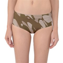 Background For Scrapbooking Or Other Beige And Brown Camouflage Patterns Mid Waist Bikini Bottoms by Nexatart