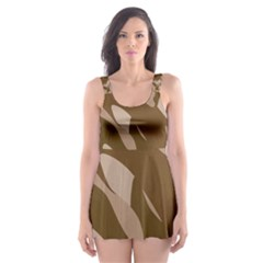 Background For Scrapbooking Or Other Beige And Brown Camouflage Patterns Skater Dress Swimsuit by Nexatart