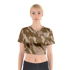 Background For Scrapbooking Or Other Beige And Brown Camouflage Patterns Cotton Crop Top by Nexatart