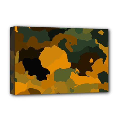 Background For Scrapbooking Or Other Camouflage Patterns Orange And Green Deluxe Canvas 18  X 12   by Nexatart