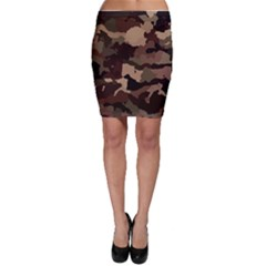 Background For Scrapbooking Or Other Camouflage Patterns Beige And Brown Bodycon Skirt by Nexatart