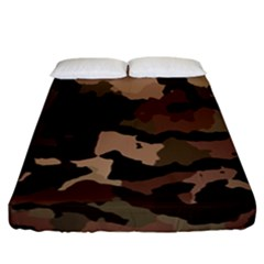 Background For Scrapbooking Or Other Camouflage Patterns Beige And Brown Fitted Sheet (california King Size) by Nexatart