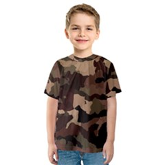 Background For Scrapbooking Or Other Camouflage Patterns Beige And Brown Kids  Sport Mesh Tee by Nexatart
