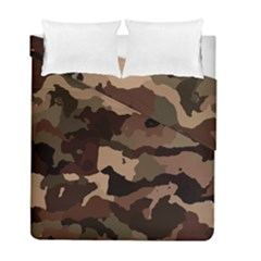 Background For Scrapbooking Or Other Camouflage Patterns Beige And Brown Duvet Cover Double Side (full/ Double Size) by Nexatart