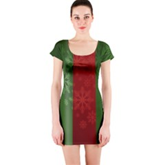 Background Christmas Short Sleeve Bodycon Dress