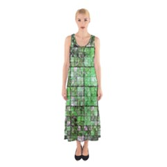 Background Of Green Squares Sleeveless Maxi Dress
