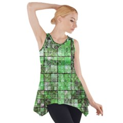 Background Of Green Squares Side Drop Tank Tunic