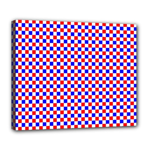 Blue Red Checkered Deluxe Canvas 24  X 20   by Nexatart