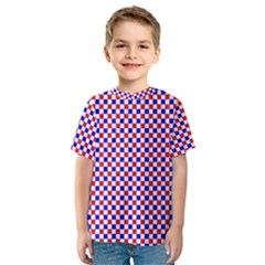 Blue Red Checkered Kids  Sport Mesh Tee