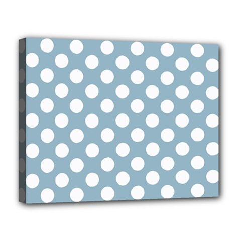 Blue Polkadot Background Canvas 14  X 11  by Nexatart