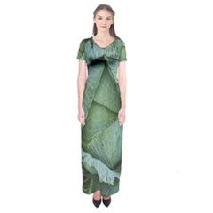 Bright Cabbage Color Dew Flora Short Sleeve Maxi Dress