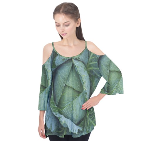 Bright Cabbage Color Dew Flora Flutter Tees by Nexatart