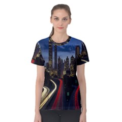 Building And Red And Yellow Light Road Time Lapse Women s Cotton Tee by Nexatart