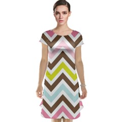 Chevrons Stripes Colors Background Cap Sleeve Nightdress by Nexatart