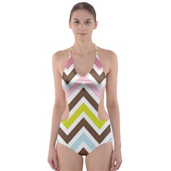Chevrons Stripes Colors Background Cut-out One Piece Swimsuit by Nexatart