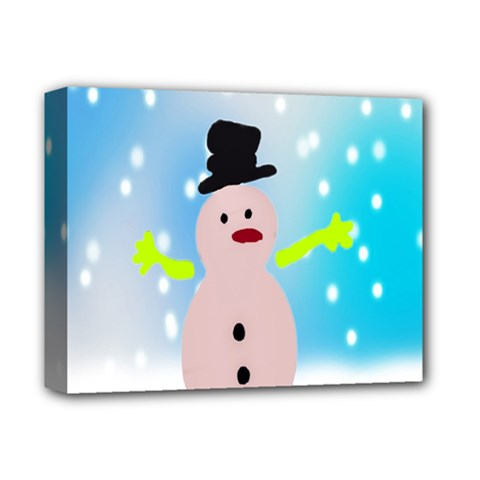 Christmas Snowman Deluxe Canvas 14  X 11  by Nexatart