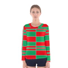 Christmas Colors Red Green Women s Long Sleeve Tee by Nexatart