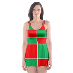 Christmas Colors Red Green Skater Dress Swimsuit by Nexatart