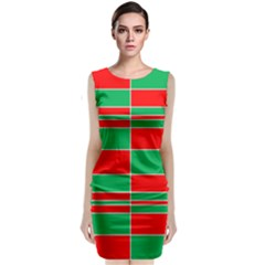 Christmas Colors Red Green Sleeveless Velvet Midi Dress