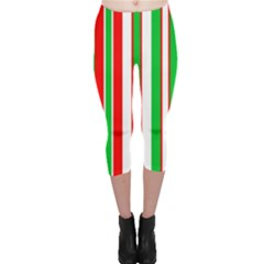 Christmas Holiday Stripes Red Green,white Capri Leggings  by Nexatart