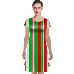 Christmas Holiday Stripes Red Green,white Cap Sleeve Nightdress