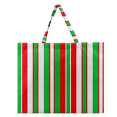 Christmas Holiday Stripes Red Green,white Zipper Large Tote Bag