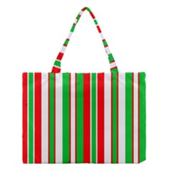 Christmas Holiday Stripes Red Green,white Medium Tote Bag