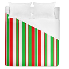 Christmas Holiday Stripes Red Green,white Duvet Cover (queen Size) by Nexatart