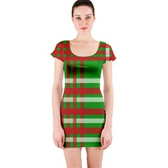 Christmas Colors Red Green White Short Sleeve Bodycon Dress by Nexatart