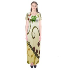 Christmas Ribbon Background Short Sleeve Maxi Dress