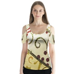 Christmas Ribbon Background Butterfly Sleeve Cutout Tee