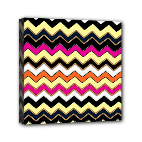 Colorful Chevron Pattern Stripes Mini Canvas 6  X 6  by Nexatart