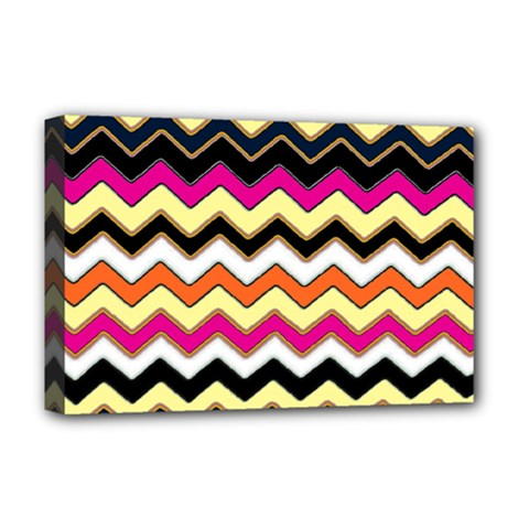 Colorful Chevron Pattern Stripes Deluxe Canvas 18  X 12   by Nexatart