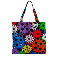 Colorful Toothed Wheels Zipper Grocery Tote Bag by Nexatart