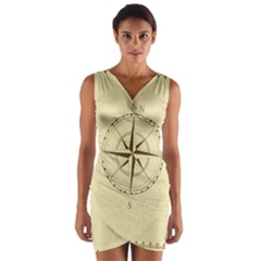 Compass Vintage South West East Wrap Front Bodycon Dress