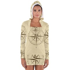 Compass Vintage South West East Women s Long Sleeve Hooded T Shirt