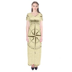 Compass Vintage South West East Short Sleeve Maxi Dress