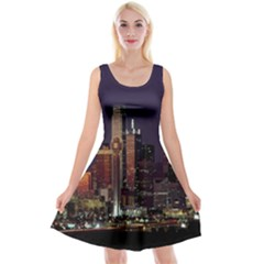 Dallas Texas Skyline Dusk Reversible Velvet Sleeveless Dress