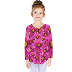 Dahlia Flowers Pink Garden Plant Kids  Long Sleeve Tee by Nexatart