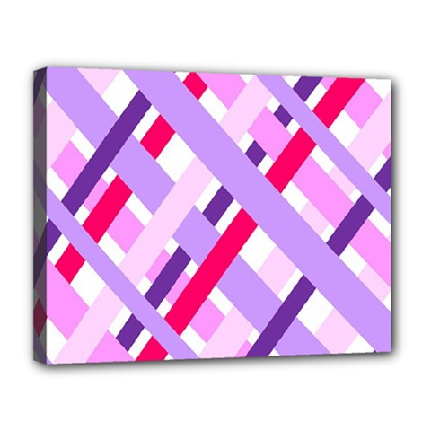 Diagonal Gingham Geometric Canvas 14  X 11  by Nexatart