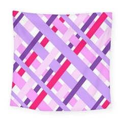 Diagonal Gingham Geometric Square Tapestry (large) by Nexatart